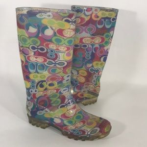 Coach Poppy Rain boots size 8
